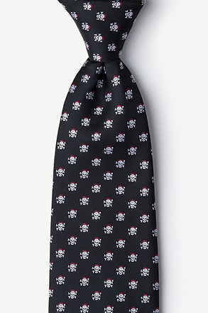 _Christmas Skulls Black Extra Long Tie_