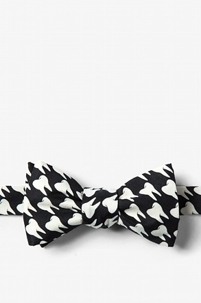 Dentists' Teeth Black Self-Tie Bow Tie