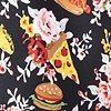 Black Microfiber Fast Food Floral Extra Long Tie