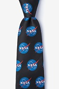 Black Microfiber Nasa Logo Extra Long Tie
