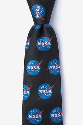 _Nasa Logo Black Extra Long Tie_