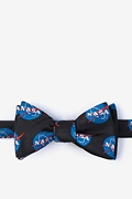 Black Microfiber Nasa Logo Self-Tie Bow Tie