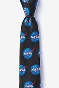 Black Microfiber Nasa Logo Tie For Boys