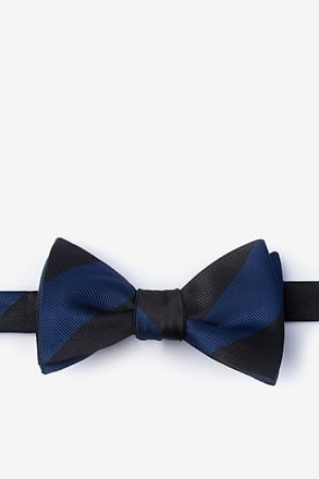 Navy & Black Stripe Self-Tie Bow Tie