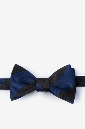 Navy & Black Stripe Bow Tie