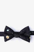 Black Microfiber Outer Space Self-Tie Bow Tie