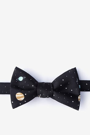 Outer Space Black Self-Tie Bow Tie