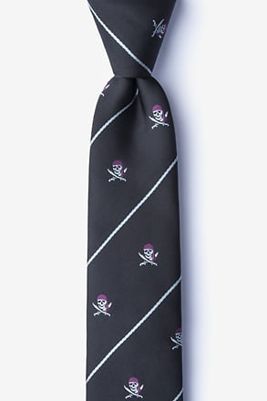 _Pirate Skull and Swords Black Skinny Tie_