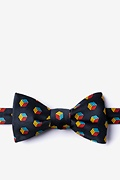 Black Microfiber Puzzle Cubes Butterfly Bow Tie