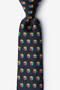 Puzzle Cubes Black Extra Long Tie Photo (0)