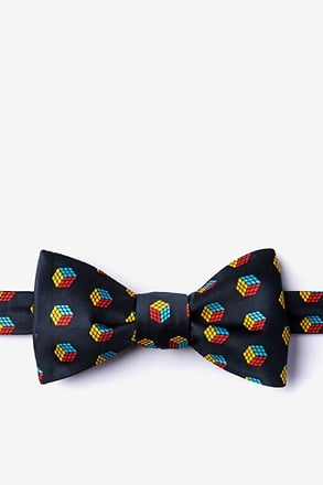 _Puzzle Cubes Black Self-Tie Bow Tie_