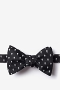 Black Microfiber Skull Polka Dot Self-Tie Bow Tie