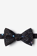 Black Microfiber Spaced Out Butterfly Bow Tie