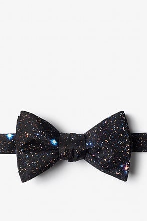 Spaced Out Black Self-Tie Bow Tie