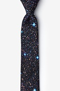 Black Microfiber Spaced Out Skinny Tie