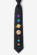 Black Microfiber The 8 Planets Extra Long Tie