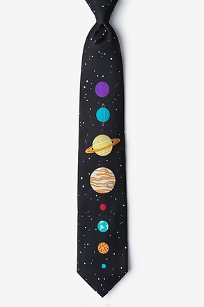 The 8 Planets Black Extra Long Tie