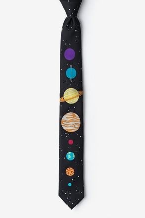 _The 8 Planets Black Skinny Tie_