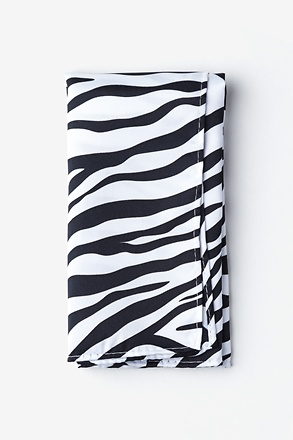 _Zebra Animal Print Black Pocket Square_