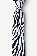 Black Microfiber Zebra Animal Print Tie For Boys