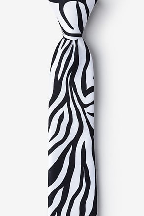 Zebra Animal Print Black Tie For Boys