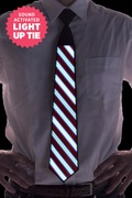 Black Plastic Striped Sound Activated Light Up Tie