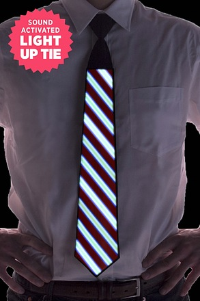 Striped Sound Activated Light Up Tie