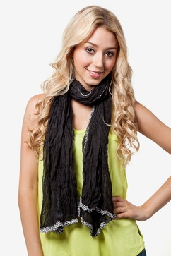 Animal Trim Solid Black Scarf