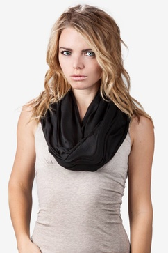 Boston Solid Black Infinity Scarf