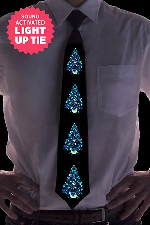 Christmas Trees Sound Activated Light Up Tie