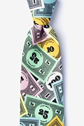 Black Polyester Play Money Extra Long Tie