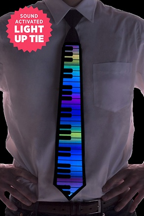 Rainbow Piano Sound Activated Light Up Tie