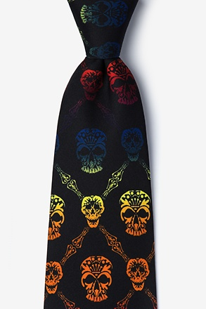 Rainbow Skull Diamond Tie