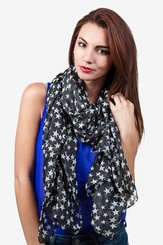 Black Polyester Starry Night Scarf