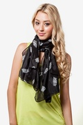 What a Hoot Black Scarf by Scarves.com