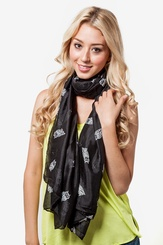 Black Polyester What a Hoot Scarf