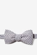 Black Seersucker Stripe Butterfly Bow Tie