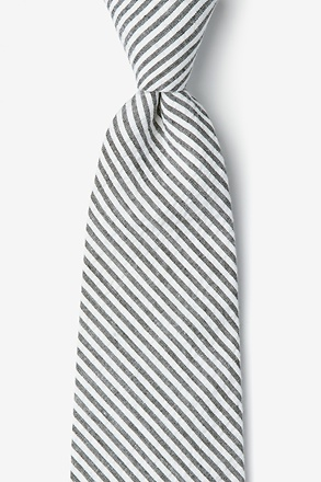 _Black Seersucker Stripe Extra Long Tie_