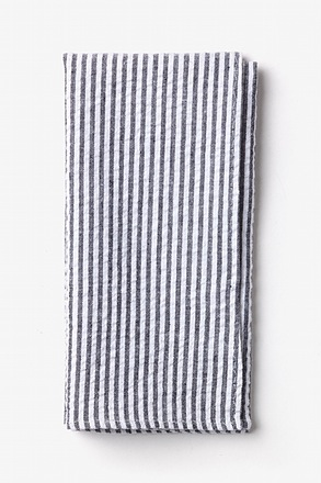 Black Seersucker Stripe Pocket Square