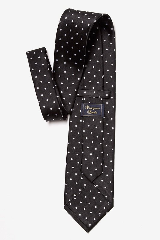 Black With White Dots Extra Long Tie