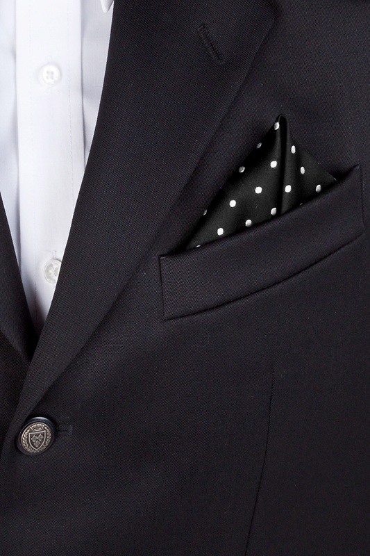 Black With White Dots Pocket Square