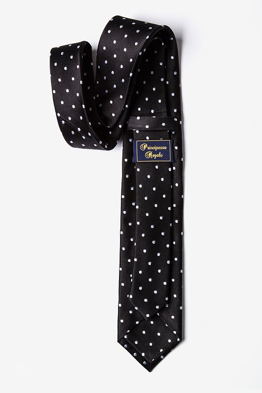 Black With White Dots Tie For Boys