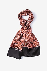 Black Silk Heart Health Oblong Scarf