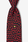 Black Silk Heart of Gold Tie