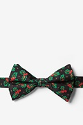Black Silk Holly Pre-Tied Bow Tie