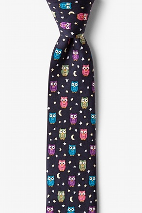 Night Owl Black Skinny Tie