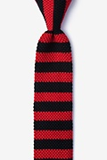 Rugby Stripe Black Knit Skinny Tie Photo (0)