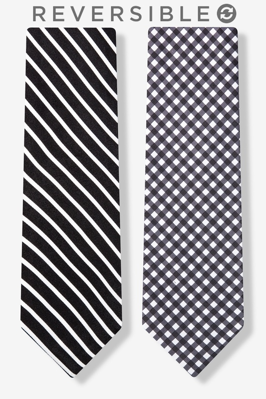 Two Sided Stripe and Check Tie Photo (0)
