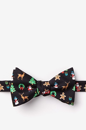 Very Merry Black Self-Tie Bow Tie