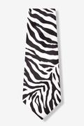 Black Silk Zebra Print Extra Long Tie